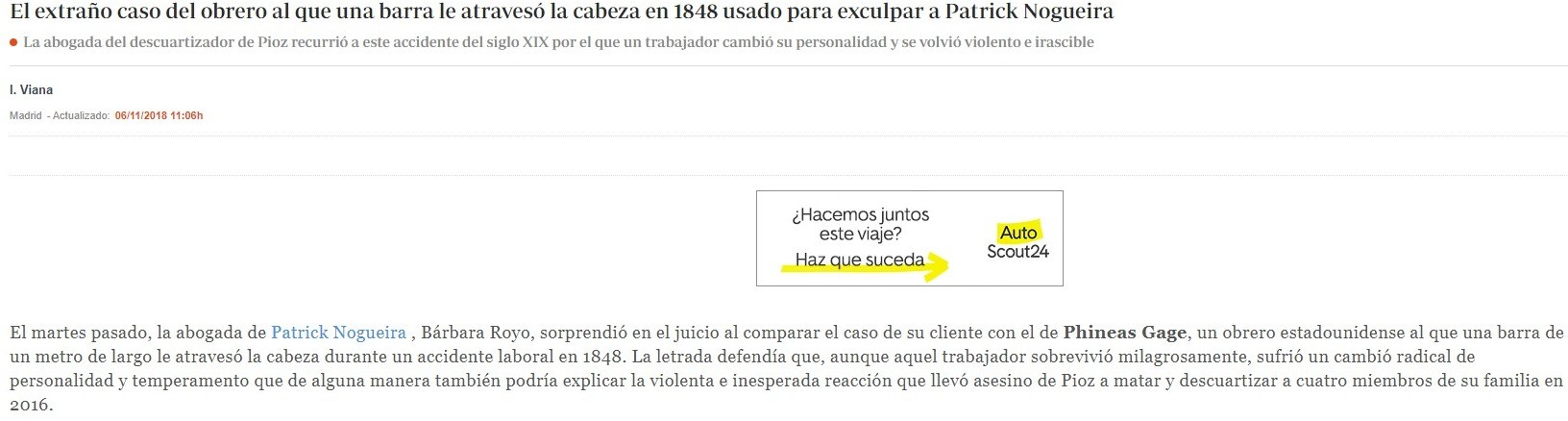 «El extraño caso del obrero al que una barra le atravesó la cabeza en 1848 usado para exculpar a Patrick Nogueira»