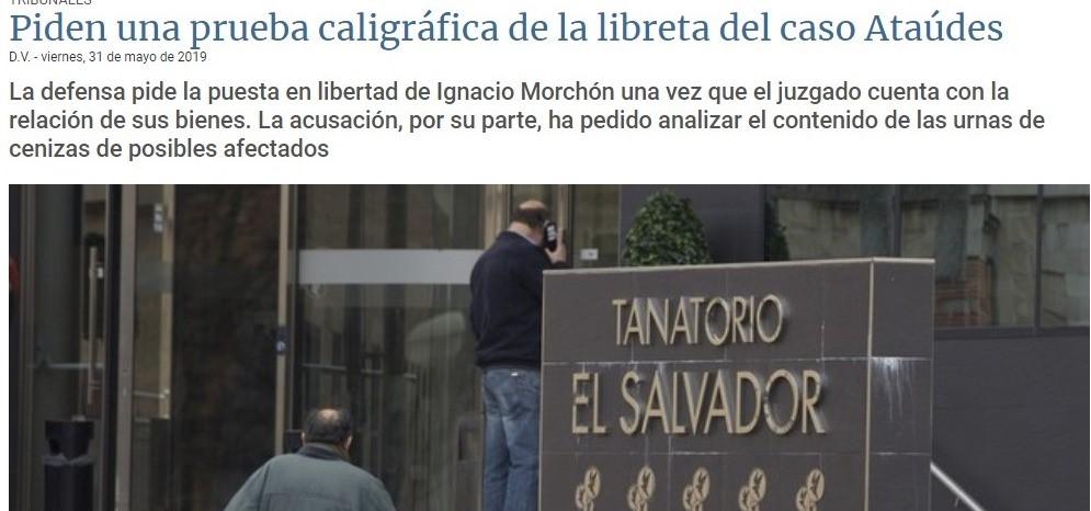 «Piden una prueba caligráfica de la libreta del caso Ataúdes»