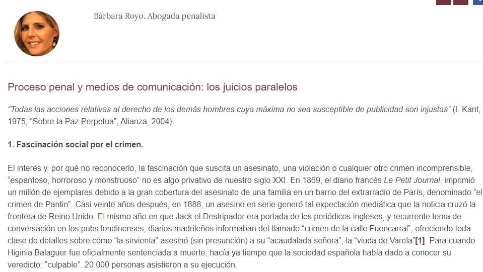 «Proceso penal y medios de comunicación: los juicios paralelos»