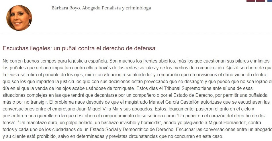 «Escuchas ilegales: un puñal contra el derecho de defensa»