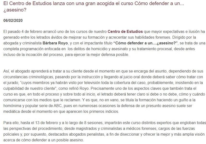«El Centro de Estudios lanza con una gran acogida el curso Cómo defender a un…¿asesino?»