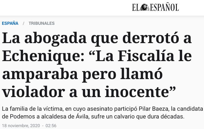 """La abogada que derrotó a Echenique: """"La Fiscalía le amparaba pero llamó violador a un inocente"""""""