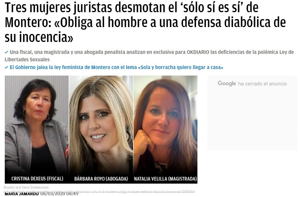 Tres mujeres juristas desmontan el 'sólo sí es sí' de Montero