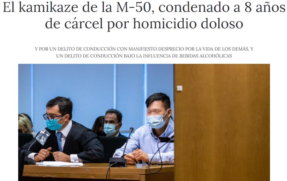 El kamikaze de la M-50, condenado a 8 años de cárcel por homicidio doloso